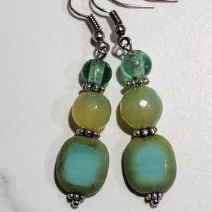 Jewelry - Handcrafted earrings with Czech and agate beads